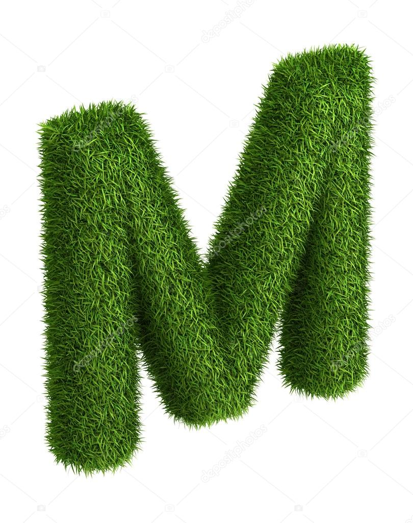 Natural grass letter M