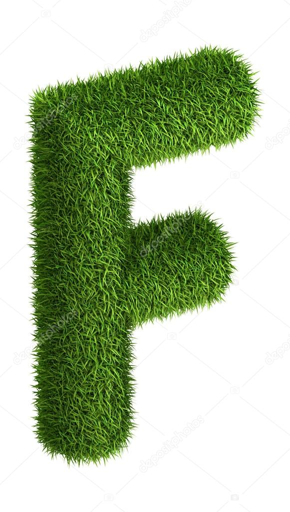 Natural grass letter F