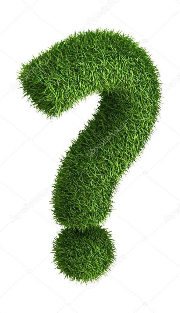 Natural grass question mark