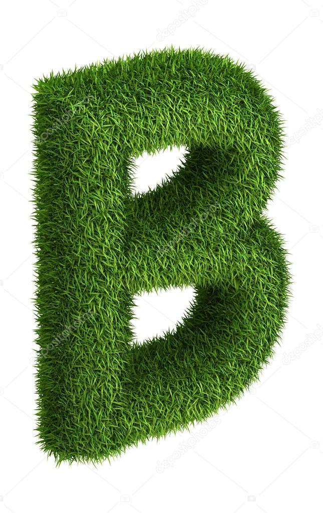 Natural grass letter B
