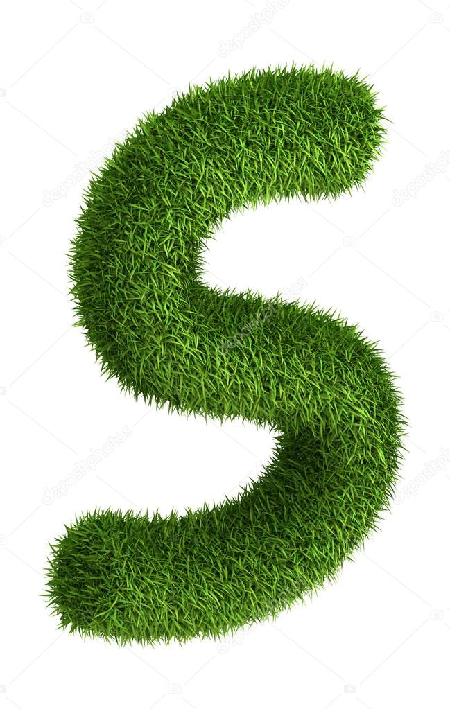 Natural grass letter S