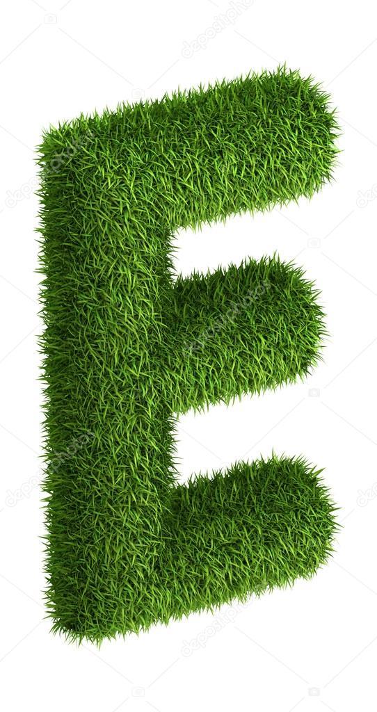 Natural grass letter E