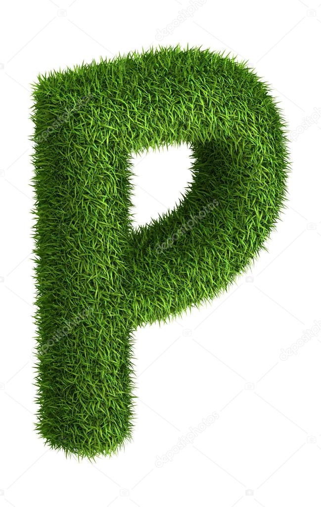Natural grass letter P