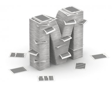 Letter M, pages paper stacks font 3d isometry