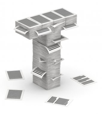 Letter T, pages paper stacks font 3d isometry