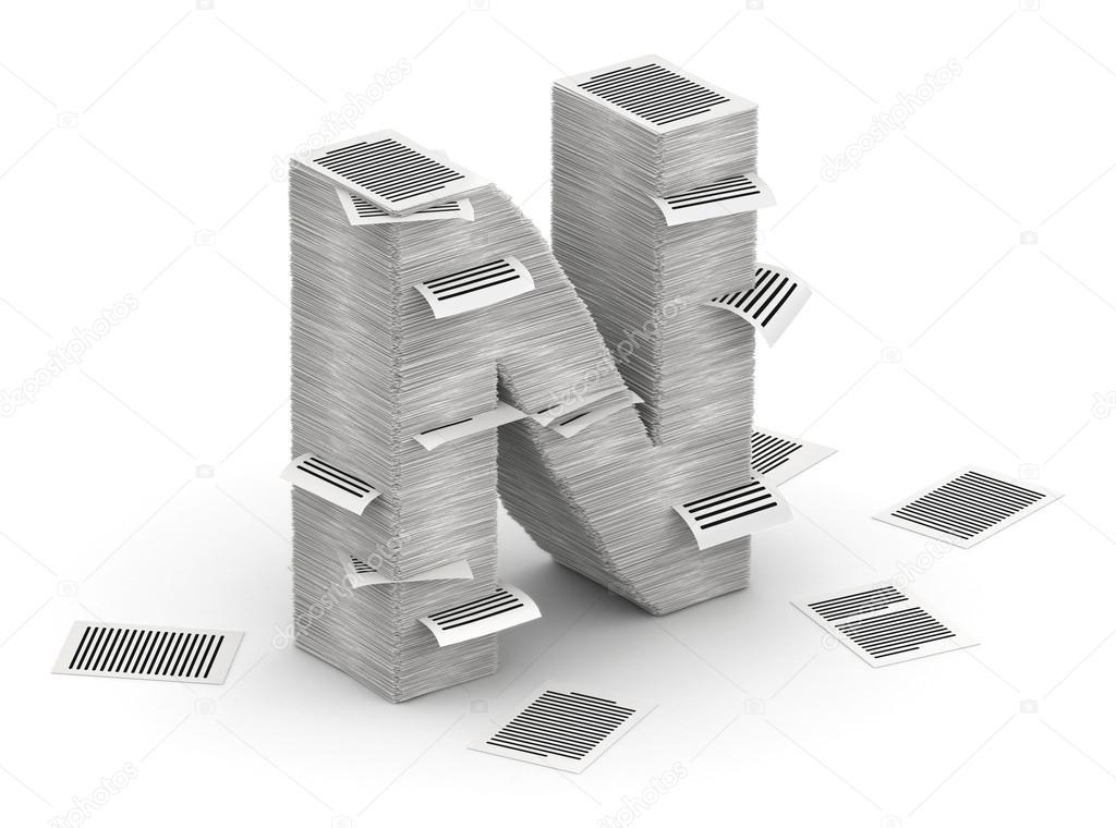 3D isométrico letra n, hecha de pilas de fuente páginas de papel — Foto de iunewind