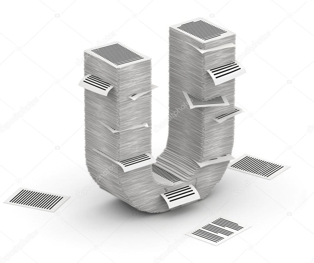Litera U Stron Papieru Stosy Czcionki 3d Izometria Zdjęcie