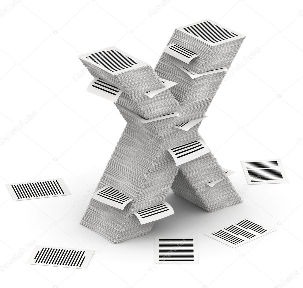 Litera X Stron Stosy Papieru Czcionki 3d Izometria Zdjęcie