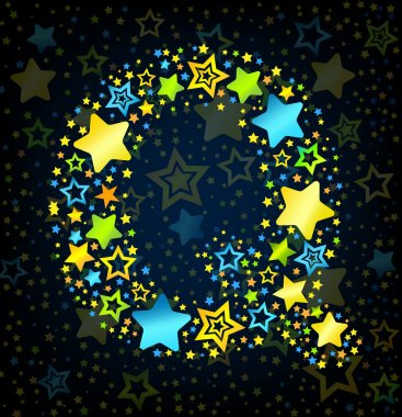 Letter Q cartoon star colored