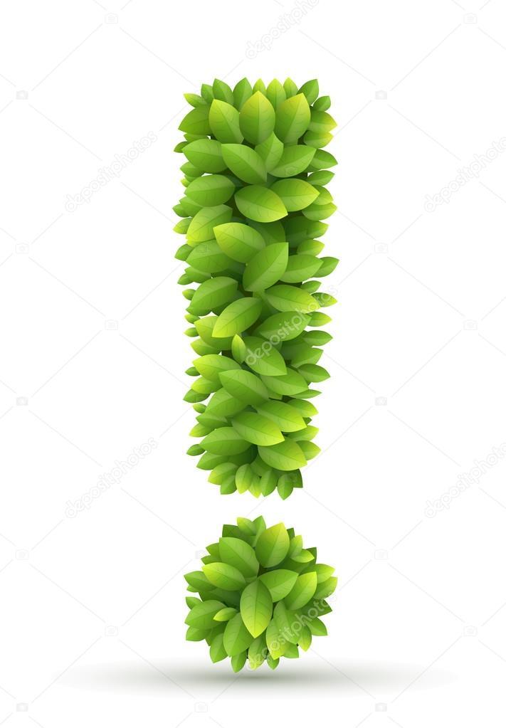 signo de exclamación, alfabeto vector verde hojas — Archivo Imágenes ...