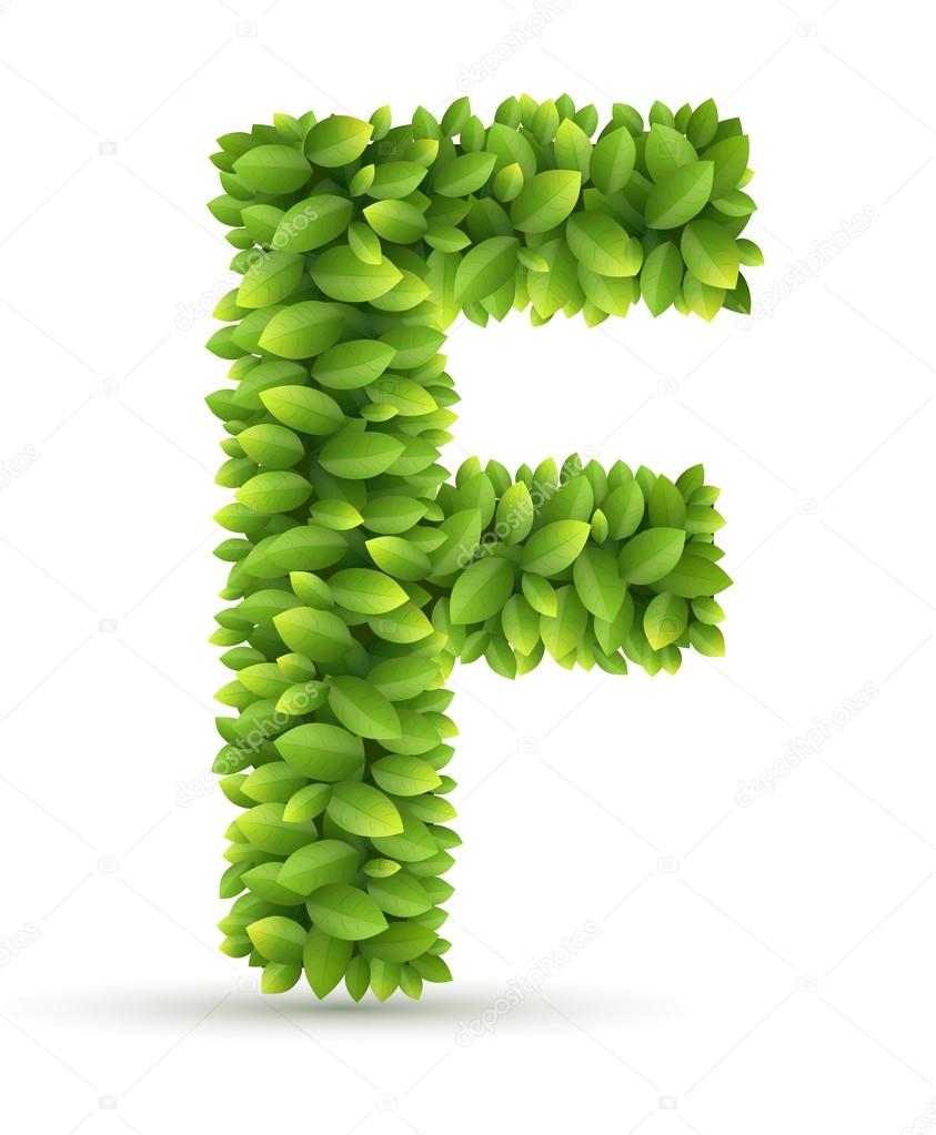 Letter  F,  vector alphabet of green leaves