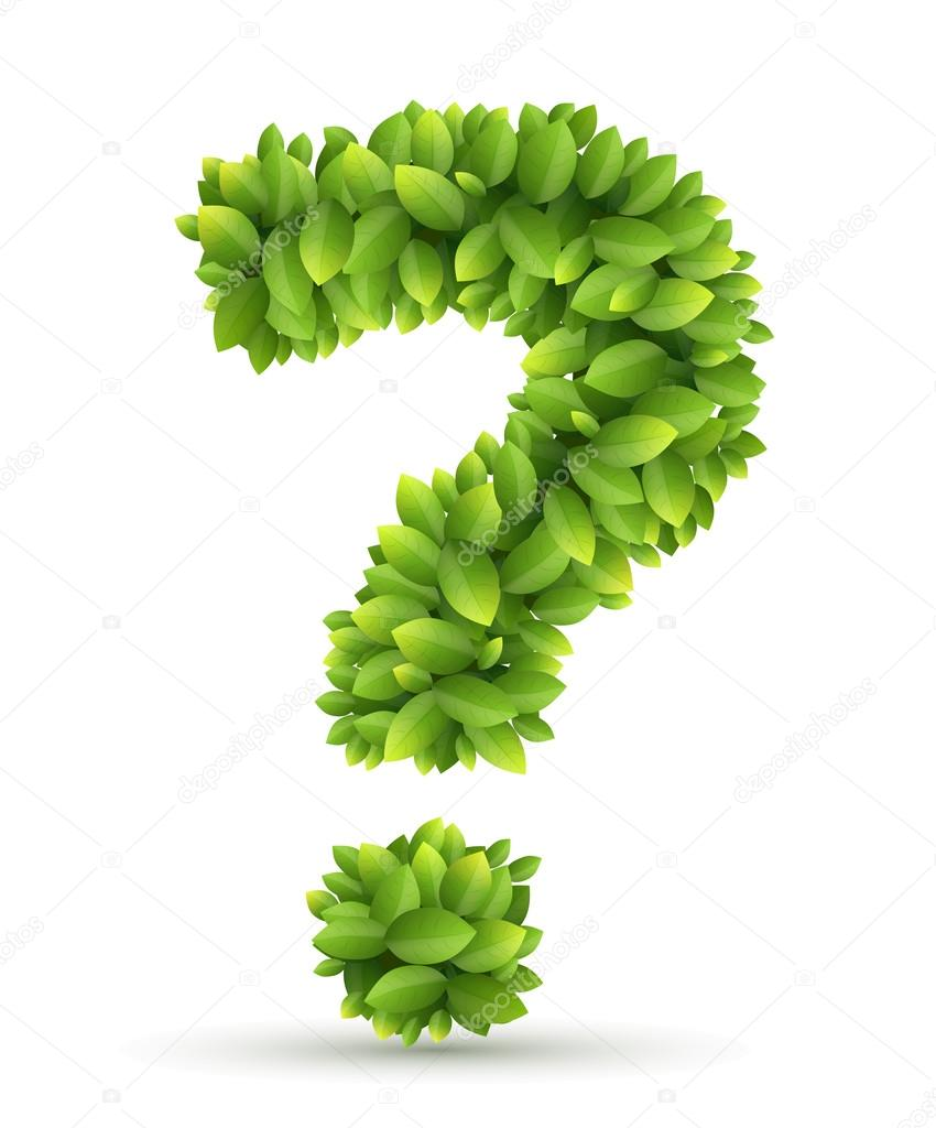 Question mark, vector alphabet of green leaves