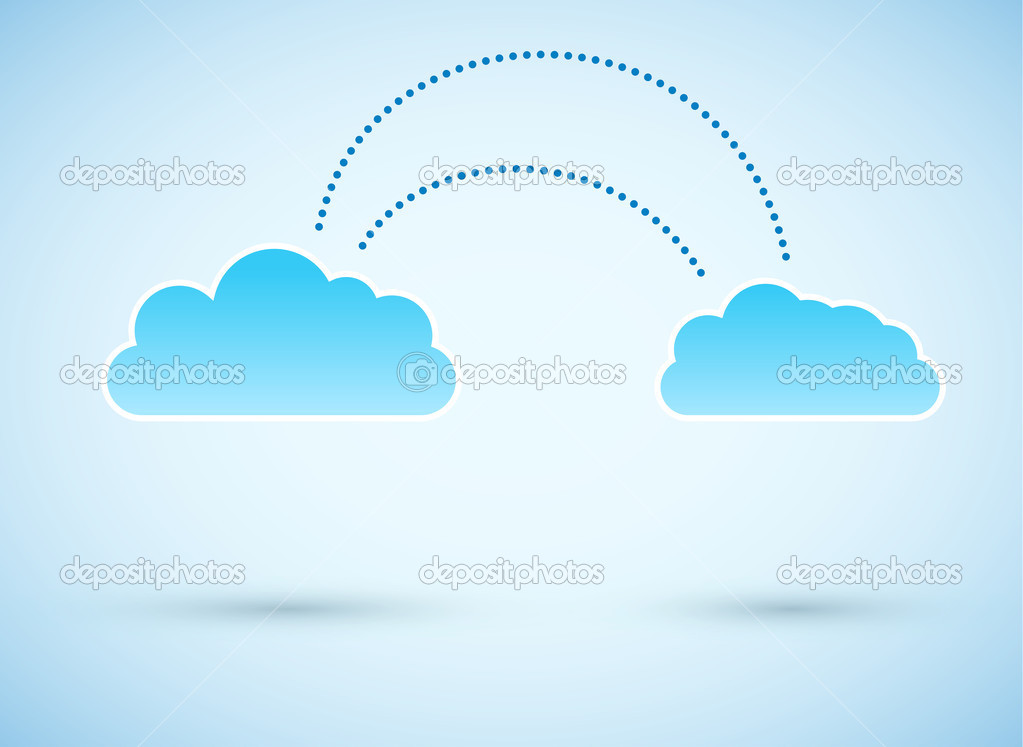 Cloud to cloud connection. Vector illustration