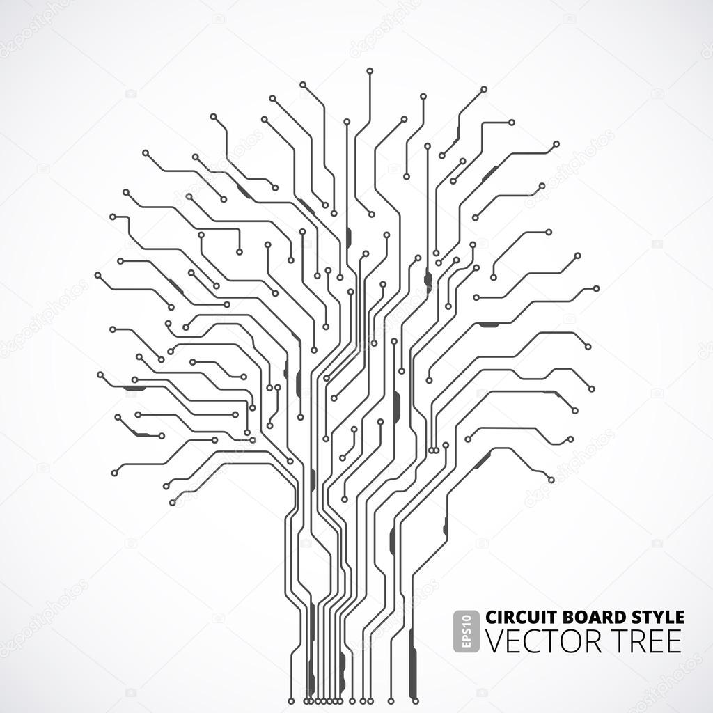 circuit board tree background  u2014 stock vector  u00a9 iunewind  44128409