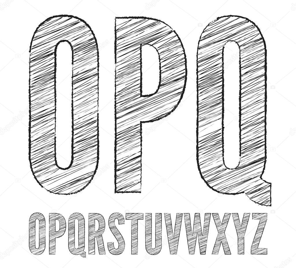 Pencil sketched font stock vector