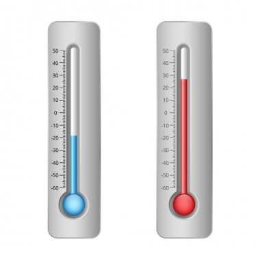 Illustration of thermometers with hot and cold levels clip art vector