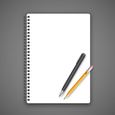 Notebook and pencil, vector illustration on gray background stock vector