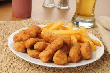 Honey battered chicken strips with beer