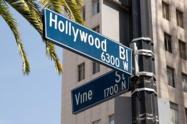 Hollywood and Vine street sign
