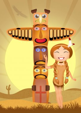 Illustration of Indian totem and Indian girl stock vector