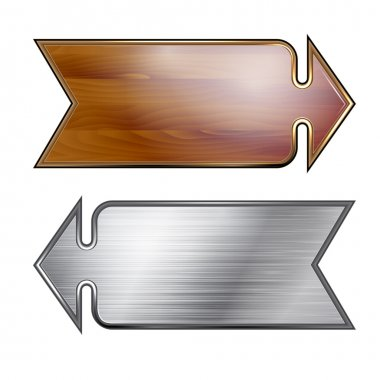 Arrows, wooden and metal surfaces