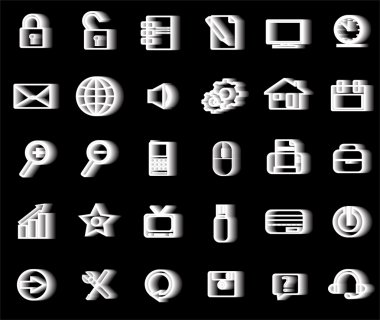 Universal white icons on a black background