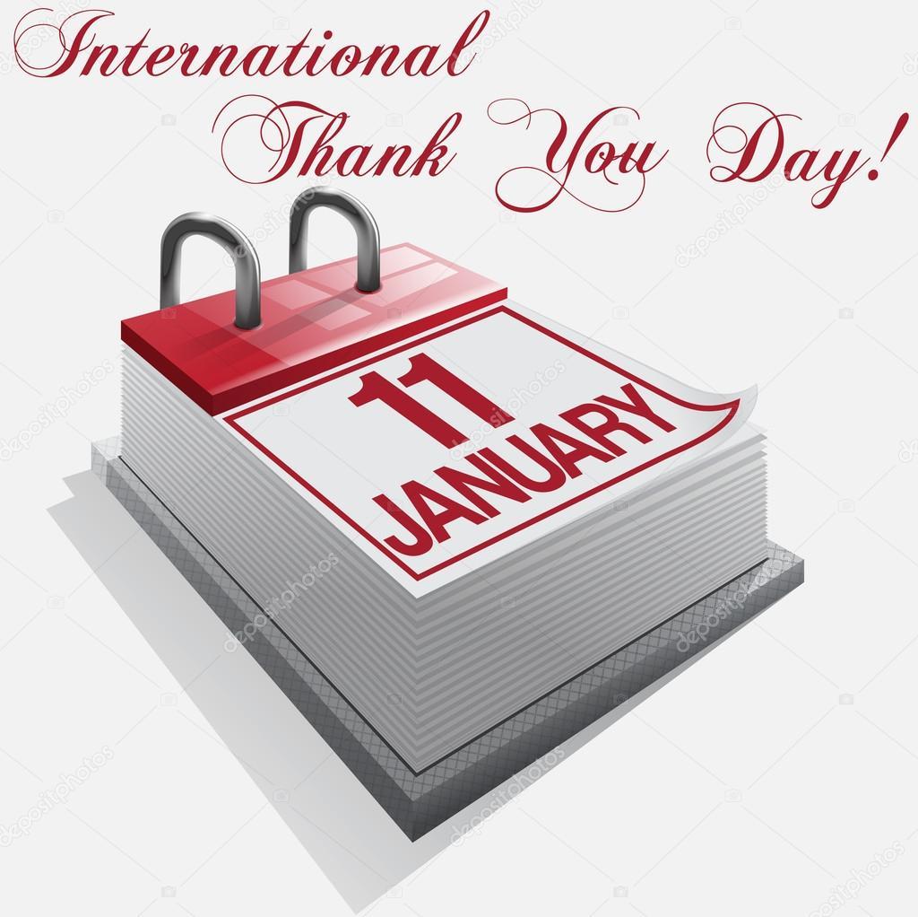 Calendario Internazionale.Calendario Giorno Ringrazio Internazionale 11 Gennaio