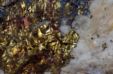 Crystal,nugget, gold, bronze, copper, iron. Macro