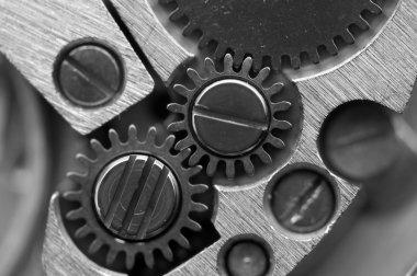 Black white Metallic Background with metal cogwheels a clockwork