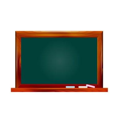 Illustration school dark green chalkboard on white background