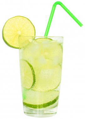 Mojito cocktail with green lime and drinking straw in highball g