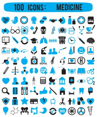 100 icons for medicine - vector icons clip art vector
