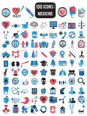 100 detailed icons for medicine