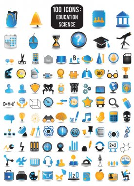 100 detailed icons of education and science