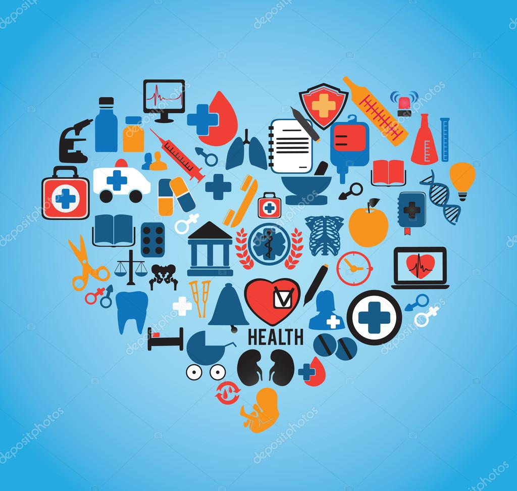 Abstrac concept of medicine Social media icons texture in heart shape compo