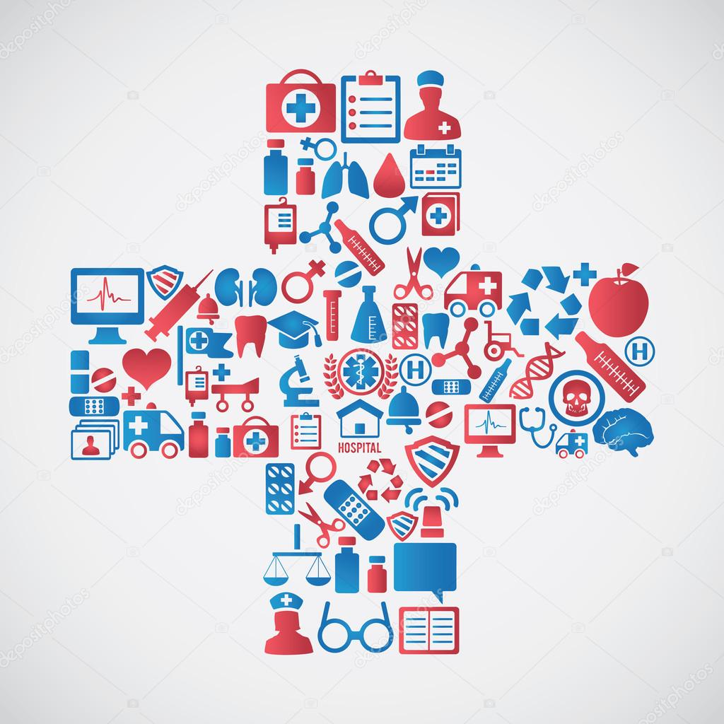 Abstrac concept of medicine Medicals icons texture in cross shape compositi