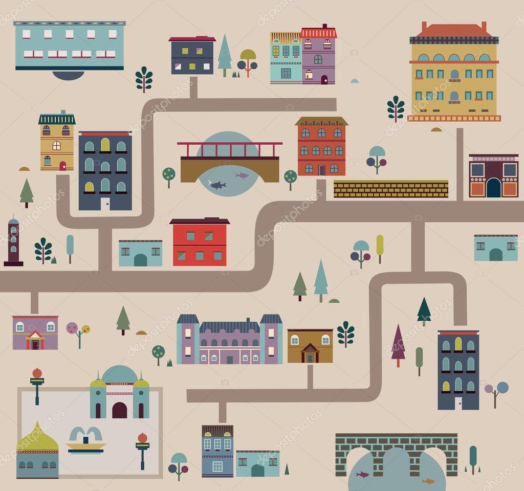 Set of city streets infographics