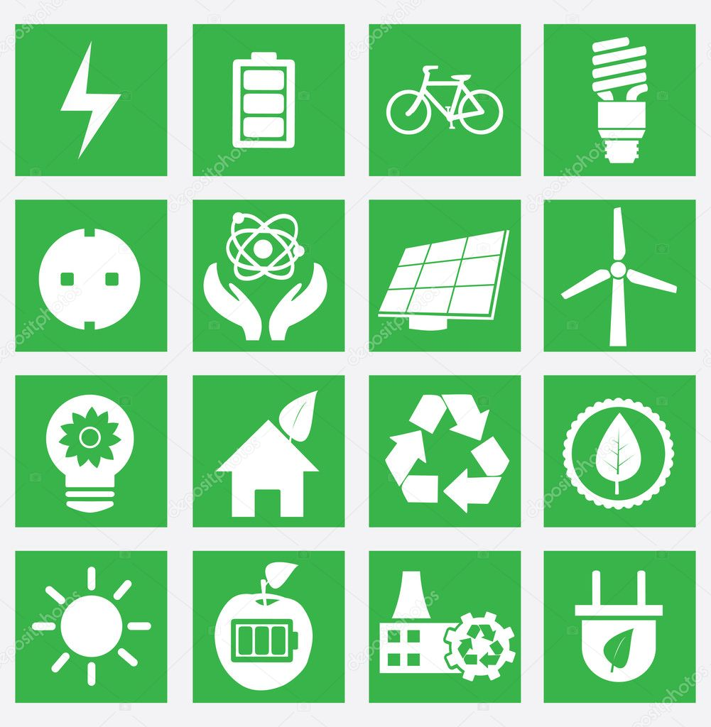 Set of energy saving icons - part 1