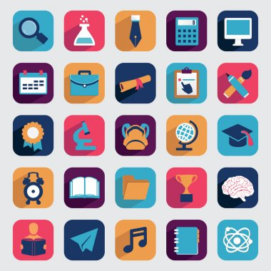 Set of flat education icons for design