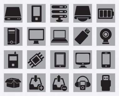 Set of computer hardware icons
