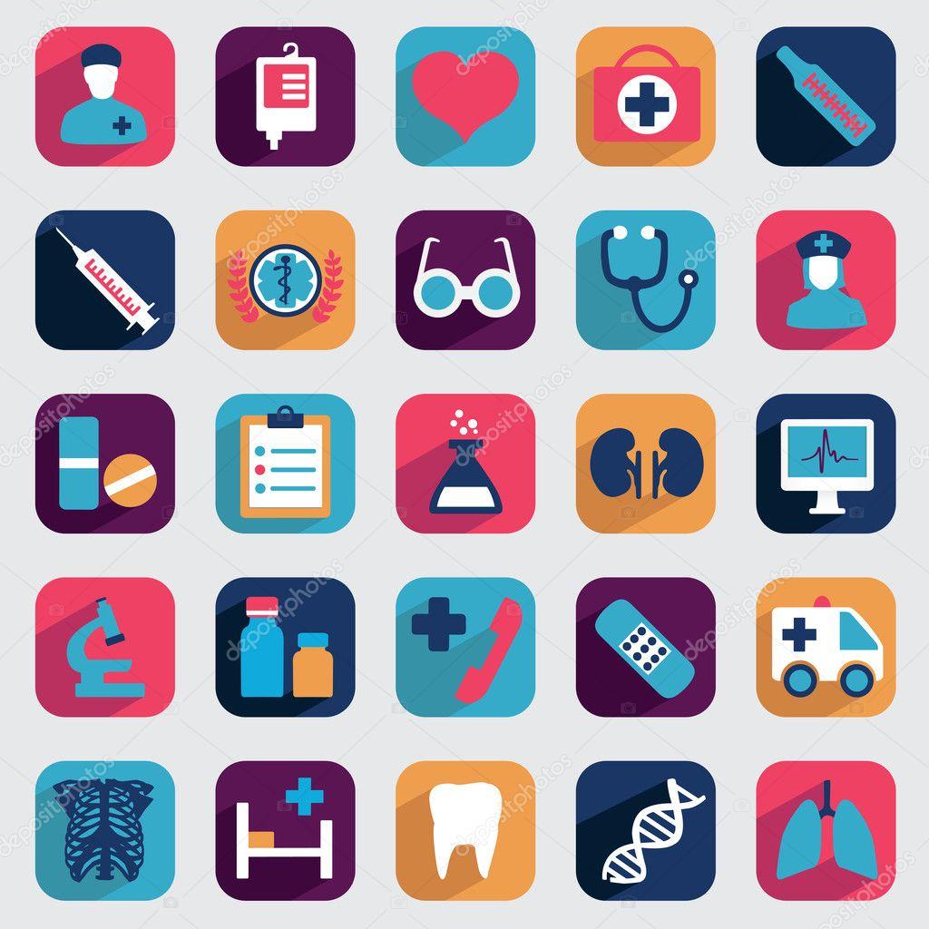 Set of flat medical icons for design