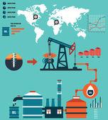 proces produkce ropy a rafinaci ropy - infographic prvky návrhu