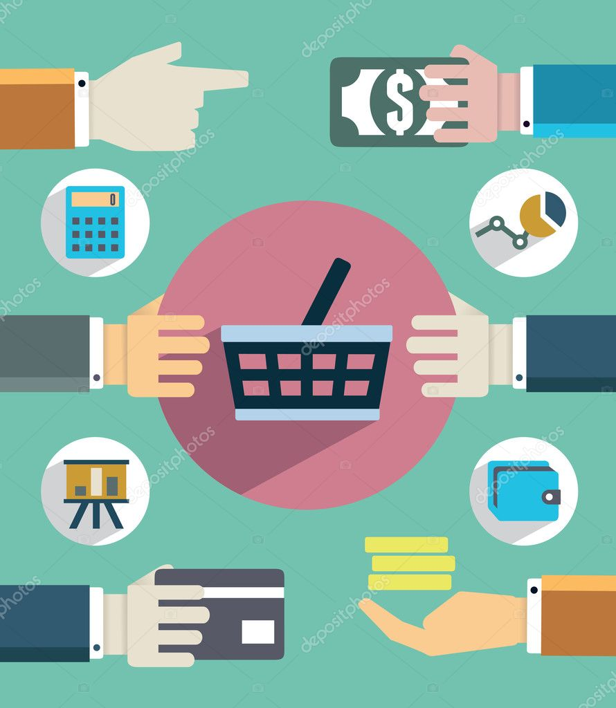 Payments and sales. Flat concept of business with hands