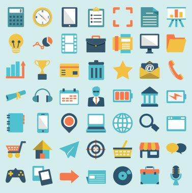 Set of flat social media icons - part 1