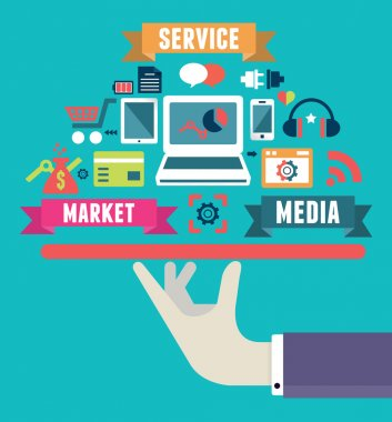 Flat concept of media market service