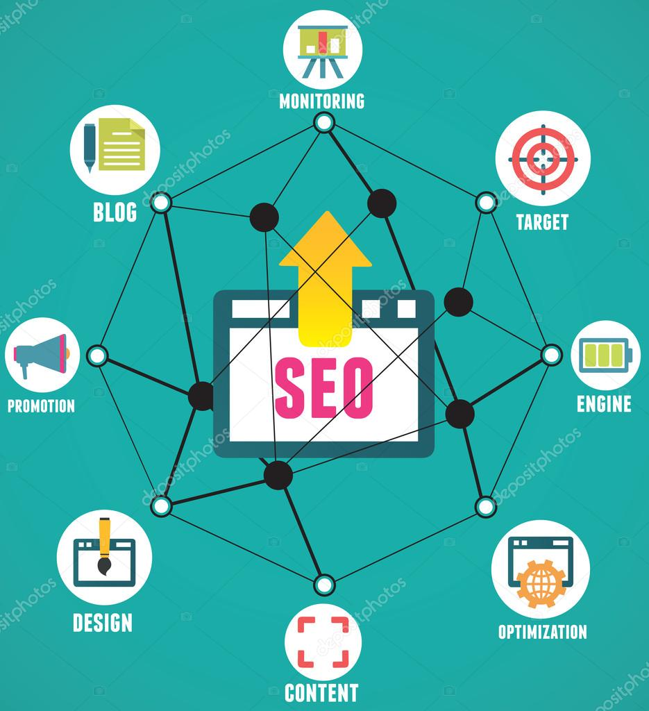 Abstract concept of seo process on geometrical background with lines