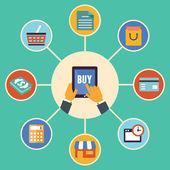 plochý design vektor pojem e-commerce symbolů, online nakupování a nákup