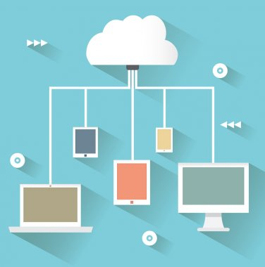 Flat design concept of cloud service and mobile devices with long shadows. Process of uploud and download