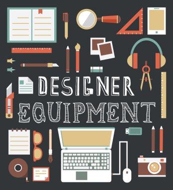 Vector set of equipment for design. Designer gadgets for creativity. Flat style design
