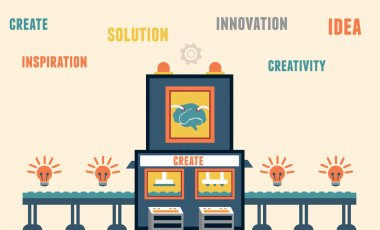 Concept of create ideas. Functions of brain - solution, innovation, creativity
